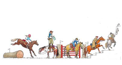 dessin cheval randonnee